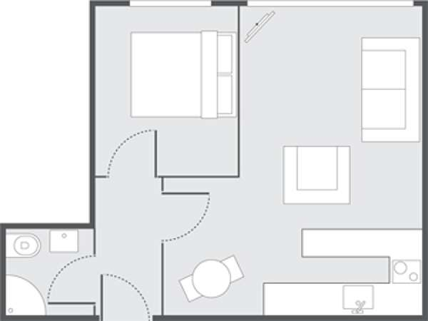 London 1 Bedroom accommodation - apartment layout  (LN-687)