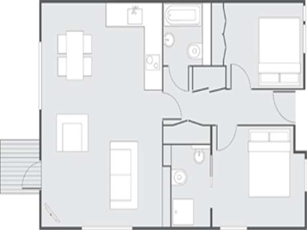 London 2 Bedroom accommodation - apartment layout  (LN-692)