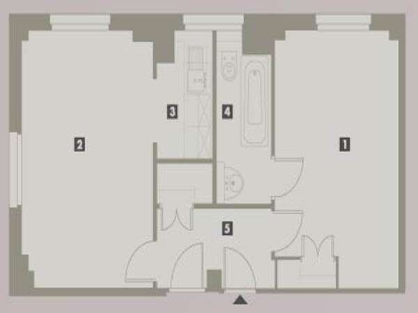 London 1 Bedroom accommodation - apartment layout  (LN-699)