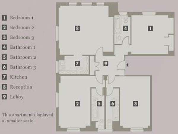 London 3 Bedroom apartment - apartment layout  (LN-703)