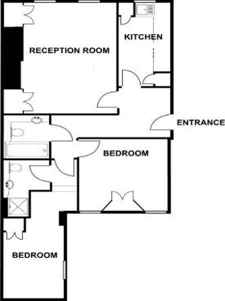 London 2 Bedroom accommodation - apartment layout  (LN-800)