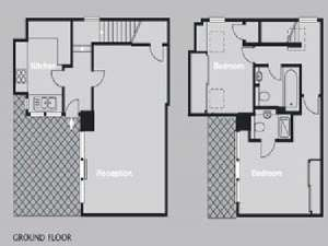 London 2 Bedroom - Townhouse apartment - apartment layout  (LN-819)