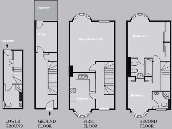 London 2 Bedroom - Triplex - Townhouse accommodation - apartment layout  (LN-822)