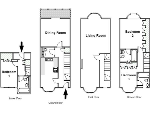 London 3 Bedroom - Townhouse accommodation - apartment layout  (LN-828)