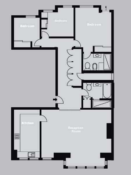 London 3 Bedroom accommodation - apartment layout  (LN-829)