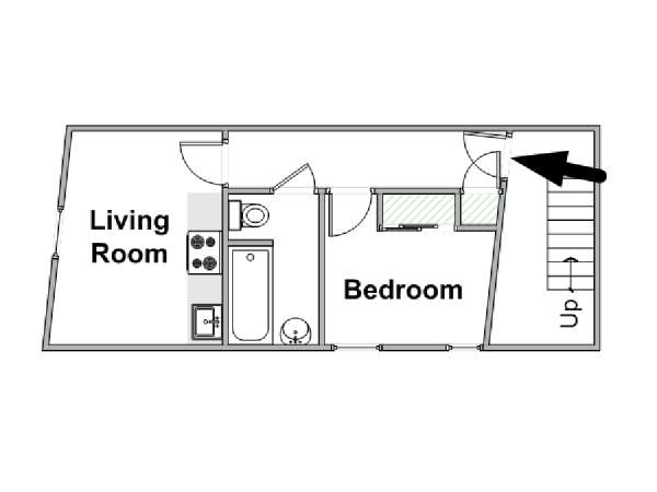 Londres T2 logement location appartement - plan schématique  (LN-834)
