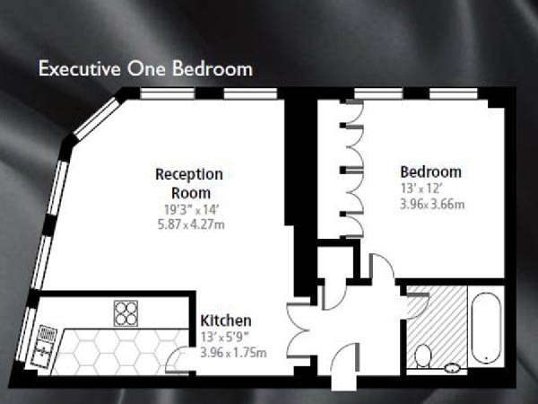 London 1 Bedroom apartment - apartment layout  (LN-838)