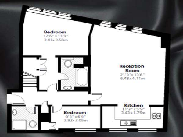 London 2 Bedroom - Penthouse apartment - apartment layout 2 (LN-842)