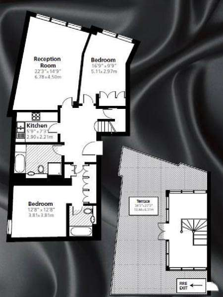 London 2 Bedroom - Penthouse apartment - apartment layout  (LN-843)