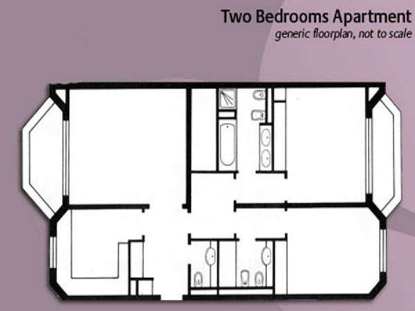 Londres T3 appartement location vacances - plan schématique  (LN-848)