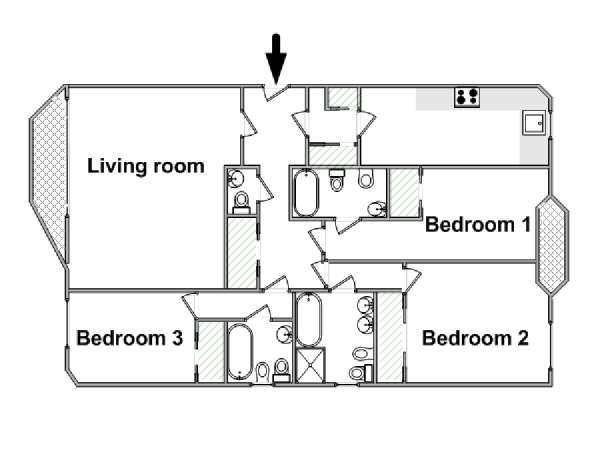 London 3 Bedroom apartment - apartment layout  (LN-853)