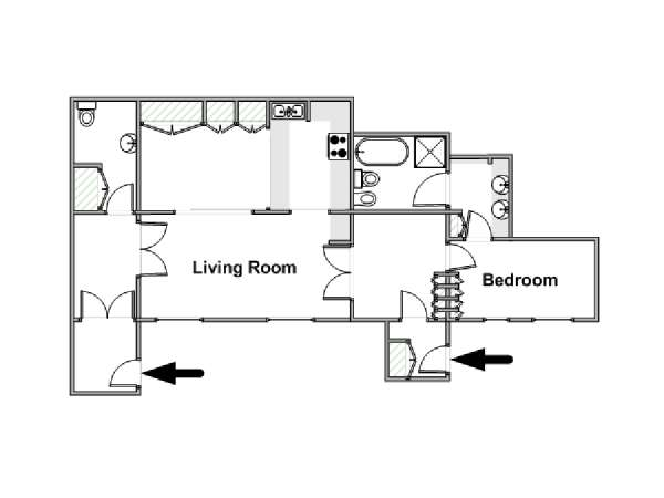 London 1 Bedroom apartment - apartment layout  (LN-855)