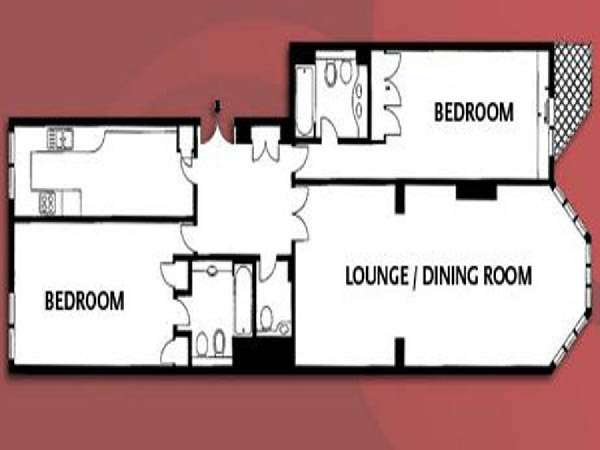 Londres T3 logement location appartement - plan schématique  (LN-861)