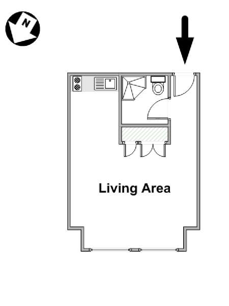 London Studio accommodation - apartment layout  (LN-881)