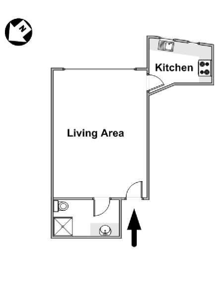 London Studio accommodation - apartment layout  (LN-886)