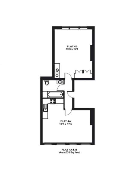 London 1 Bedroom apartment - apartment layout  (LN-896)