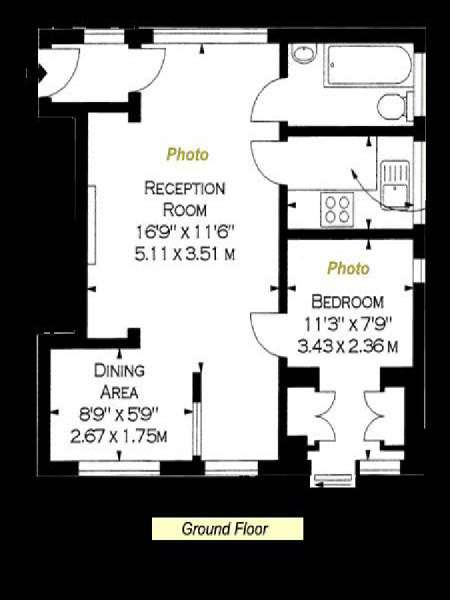 Londres T2 appartement location vacances - plan schématique  (LN-904)