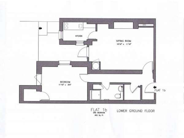 London 1 Bedroom accommodation - apartment layout  (LN-908)