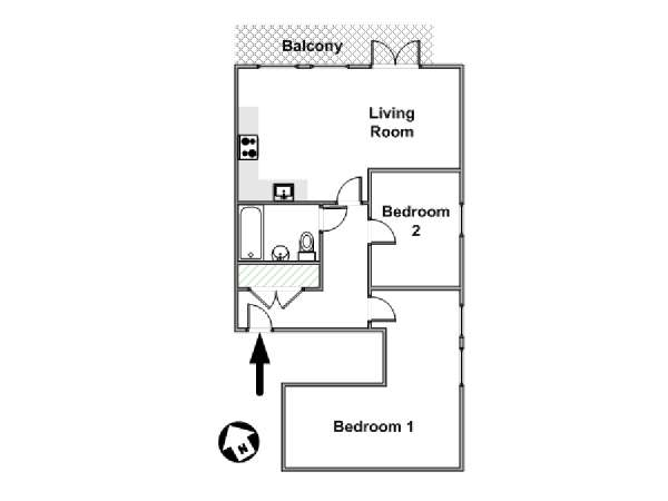 London 2 Bedroom accommodation - apartment layout  (LN-978)