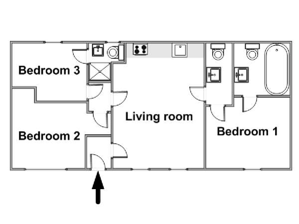 Londres T4 appartement location vacances - plan schématique  (LN-1009)