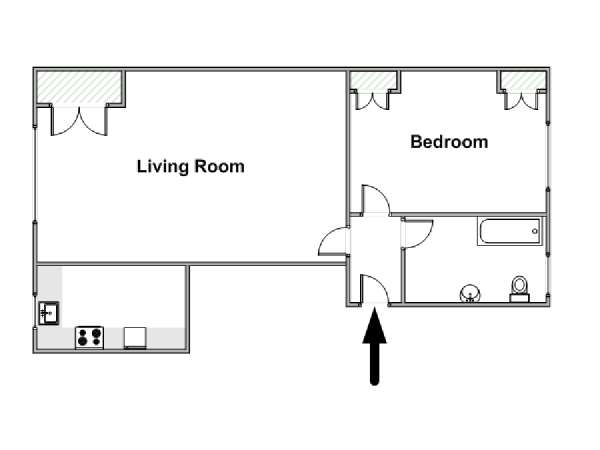 London 1 Bedroom accommodation - apartment layout  (LN-1047)