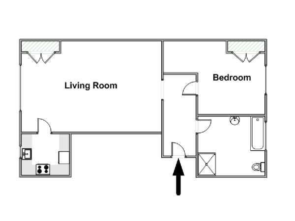 London 1 Bedroom accommodation - apartment layout  (LN-1048)