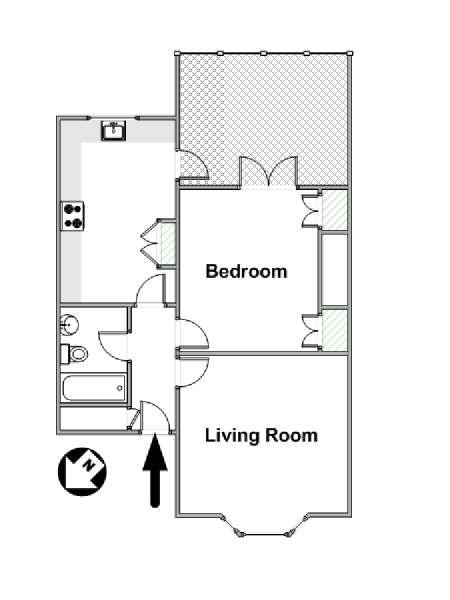 London 1 Bedroom apartment - apartment layout  (LN-1185)