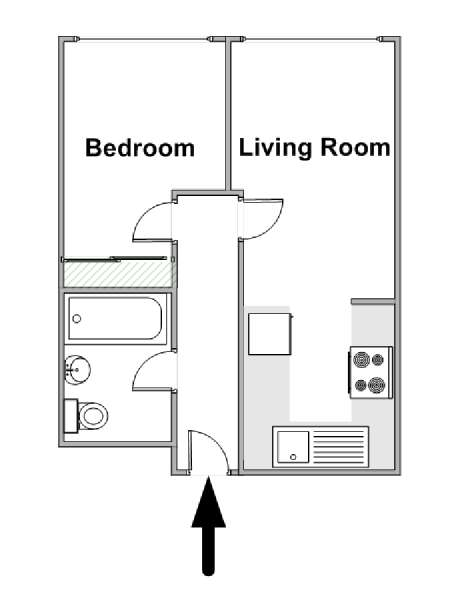 London 1 Bedroom accommodation - apartment layout  (LN-1219)