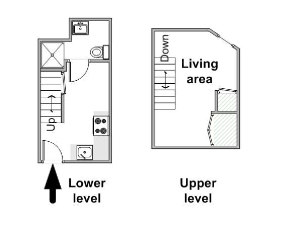 London Studio - Duplex accommodation - apartment layout  (LN-1220)