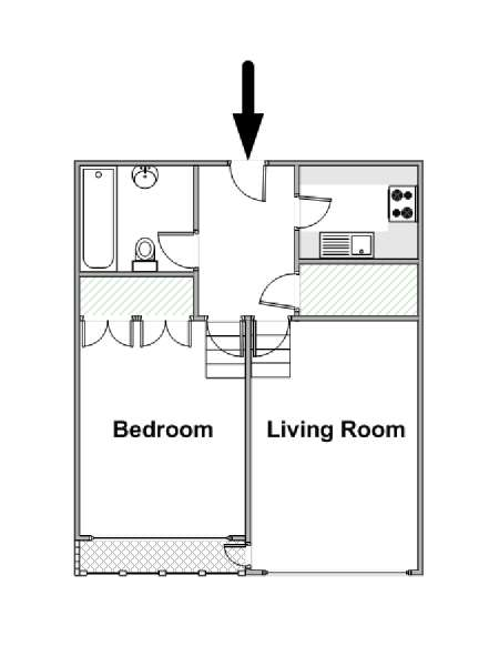 London 1 Bedroom apartment - apartment layout  (LN-1442)