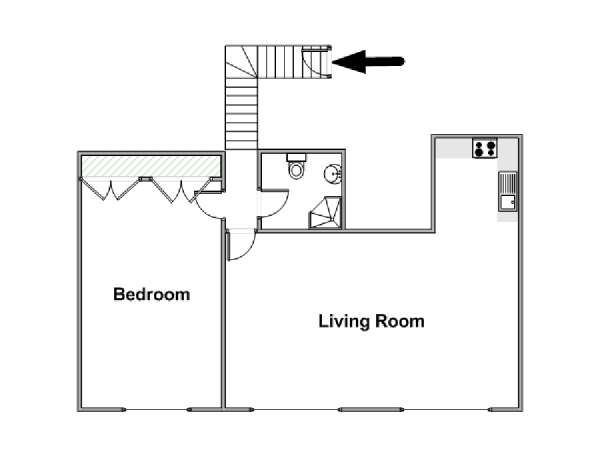 London 1 Bedroom apartment - apartment layout  (LN-1449)