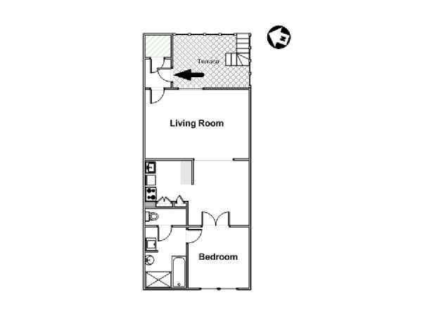 London 1 Bedroom accommodation - apartment layout  (LN-1473)