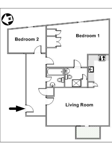 London 2 Bedroom apartment - apartment layout  (LN-1479)