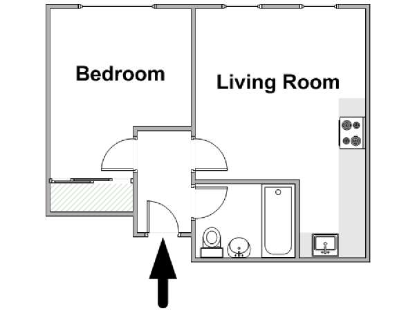 London 1 Bedroom accommodation - apartment layout  (LN-1648)