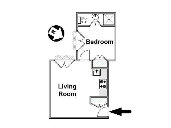 London 1 Bedroom accommodation - apartment layout  (LN-1667)