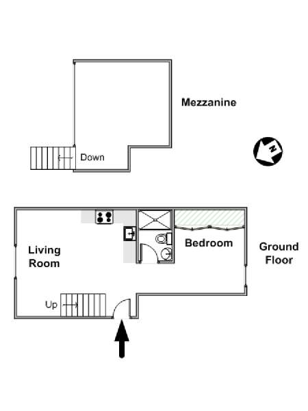 London 1 Bedroom - Duplex accommodation - apartment layout  (LN-1755)