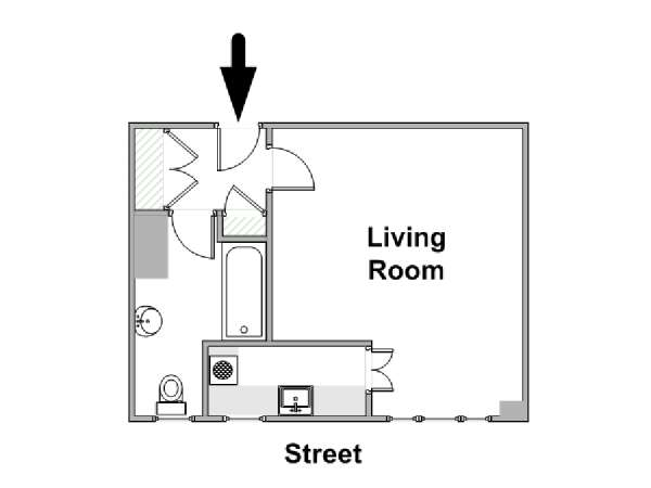 Londres Studio T1 logement location appartement - plan schématique  (LN-1819)