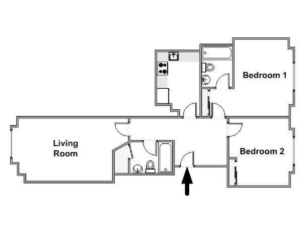 London 2 Bedroom apartment - apartment layout  (LN-1893)