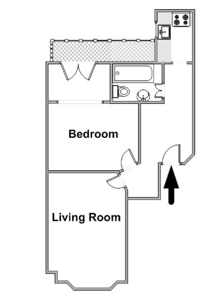 London 1 Bedroom apartment - apartment layout  (LN-1916)