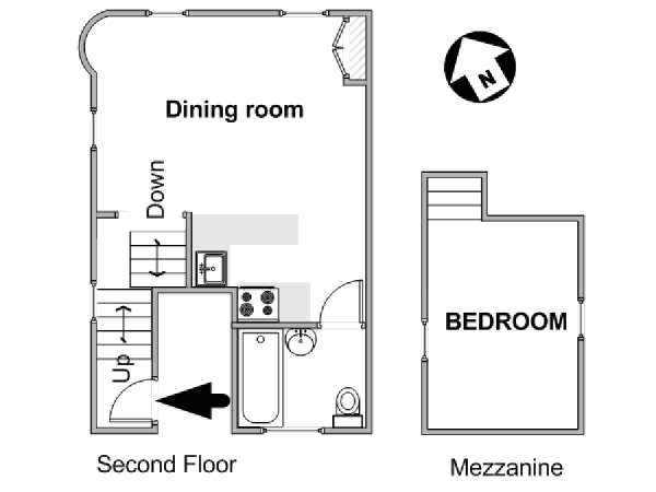London 1 Bedroom accommodation - apartment layout  (LN-1999)