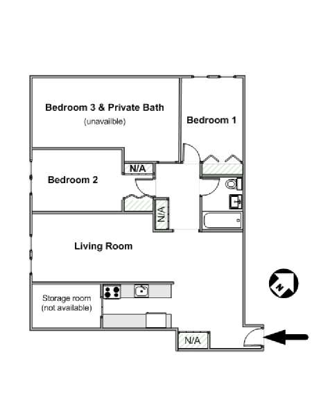 New York T4 appartement colocation - plan schématique  (NY-544)