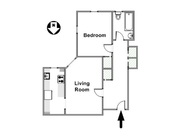 New York 1 Bedroom apartment - apartment layout  (NY-569)