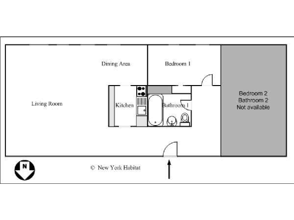 New York 2 Bedroom roommate share apartment - apartment layout  (NY-10247)