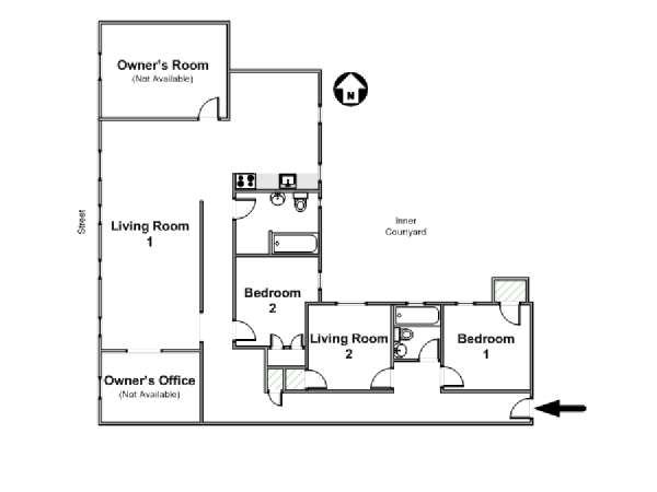 New York 3 Bedroom roommate share apartment - apartment layout  (NY-10442)