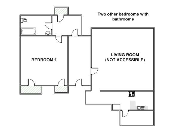 New York 3 Bedroom roommate share apartment - apartment layout  (NY-10462)