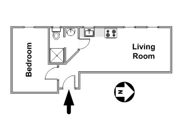 New York 1 Bedroom apartment - apartment layout  (NY-10543)