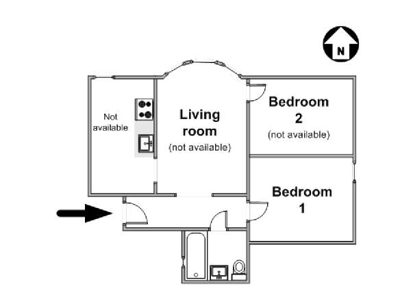 New York 2 Bedroom roommate share apartment - apartment layout  (NY-11044)