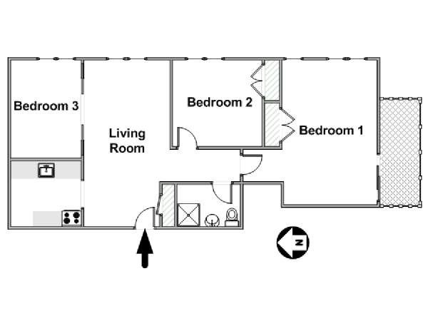 New York 3 Bedroom roommate share apartment - apartment layout  (NY-11228)