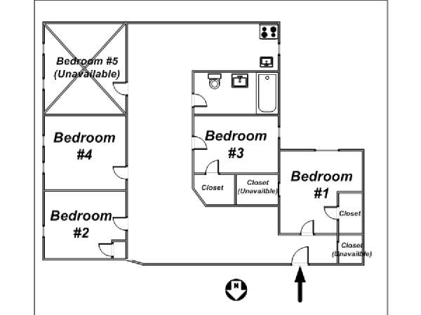 New York 5 Bedroom roommate share apartment - apartment layout  (NY-11254)