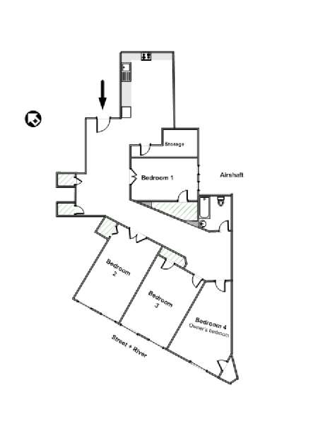 New York 4 Bedroom roommate share apartment - apartment layout  (NY-11267)